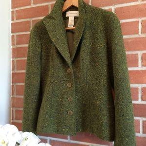 Jackets & Blazers - Liz Claiborne green tweed blazer.